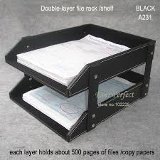 desk office file document paper. doublelayer leather office file document tray shelf storage box desk organizer black a231 paper