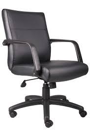 boss mid back black leather swivel office chair