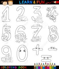 cartoon coloring book or page ilration of numbers signs from zero to nine with s characters