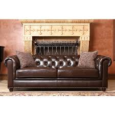 abbyson carmela dark brown top grain leather chesterfield sofa throughout full remodel 15