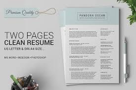 40 Pages Clean Resume CV Pandora Resume Templates Creative Market Magnificent Resume Pandora