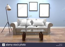 Glass Photo Frames With Lights Modern Living Room Interior Blue Style And Wooden Floor