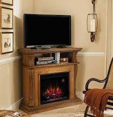 42 corinth premium oak entertainment center wall and corner electric fireplace