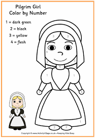 Pilgrim Girl Colour By Number November School Days Thanksgiving