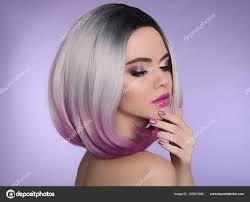 Krátký účes Bob Ombre Krásné Vlasy Barvení žena Trendy Stock
