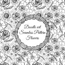 Abstract Art Black And White Patterns Doodle Art Abstract Seamless Pattern With Flowers Vector