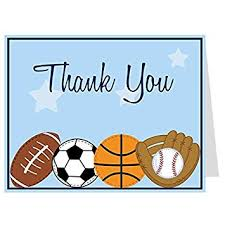 Amazon Com Sports Thank You Cards Baby Shower Birthday Boys