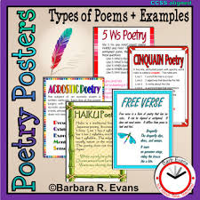 Types Of Poetry Anchor Chart Poetry Posters Poetry Types Descriptions Examples Anchor