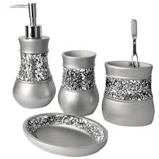 black mosaic bathroom accessories. creative scents brushed nickel bath ensemble, 4 piece bathroom accessories set, collection black mosaic