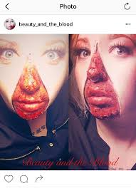 gory zipper face expressive special effects makeup art by