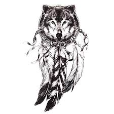 Dream Catchers Sketches 100pc Sketch Black Tattoo Sticker Women Men 100D Body Art Wolf Dream 70