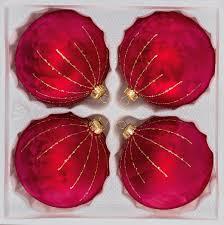 4 Tlg 12cm Glas Weihnachtskugeln Set 12cm ø In Ice Rot Gold Regen