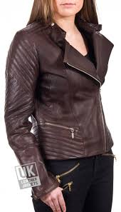 women s brown leather biker jacket serendipity cross zip view