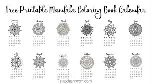 Free Printable 2018 Calendar Mandala Coloring Pages Slap Dash Mom