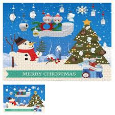 1000Pcs Jigsaw Puzzle 75x50cm <b>Cartoon Christmas Snowman</b> ...