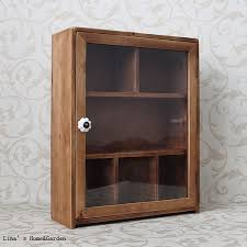 Natural Finish Antique Brown Wood Small Storage Cabinet with Glass