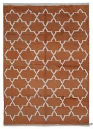 orange new contemporary hand knotted wool area rug 8 11 x
