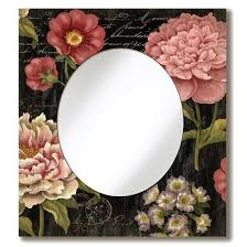 oval wall mirror with multiple flowers vintage style wooden sign frame