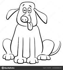 国内犬ペット動物キャラクター塗り絵の黒と白の漫画イラスト ストック