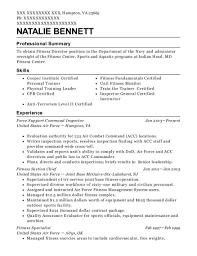 Fitness Specialist Sample Resume