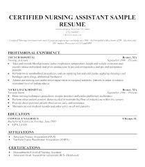 Sample Certified Nursing Assistant Resume Certified Nursing Assistant Resume Objective Souvenirs