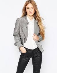 vero moda short padded jacket with asymmetric zip pewter women jackets vero moda london