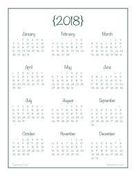 At A Glance Yearly Calendars 2018 Year At A Glance Calendar Free Printable At A