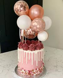 White on white with rose gold thrown in the mix 💁🏻♀️ . Rose gold balloon  topper @candleandcakep… | Beautiful birthday cakes, Birthday cake girls,  Cake decorating