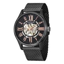 skeleton men s watches shop the best deals for 2017 stuhrling original men s atrium elite automatic skeleton stainless steel mesh band watch
