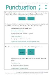 Semicolons And Colons Worksheets Comma Or Semicolon Punctuation Worksheet Middle School Teaching Free