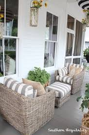 furniture for porch. Love This Combo Of Weathered Wicker And Grey/white Stripes. Ballard House Front Porch I The Way Furniture Is Facing Each Other! For O