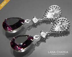amethyst crystal earrings purple chandelier earrings swarovski amethyst teardrop rhinestone earrings bridal bridesmaids jewelry prom jewelry 30 90 usd