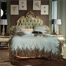 2018 luxury romantic lace embroidery silk cotton wedding bedding set duvet cover bed sheet bed linen pillowcases queen king size bedding for boys train