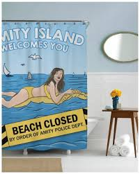 nerdzgonewild amity island jaws shower curtain geek gifts