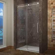glass sliding shower doors frameless. Elegant Shower Area With Clear Glass Sliding Frameless Door And Brwn Marble Wall Design Doors A