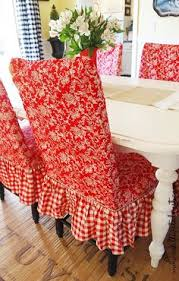 red toile checd dining room chairs dining room chair slipcovers