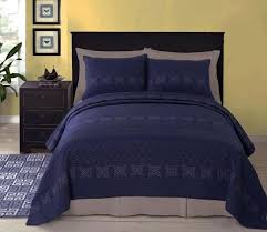 Navy Blue Matelasse Quilt Coverlet Set Paired With White Instead ... & Rosaline Navy Blue Matelasse Quilt Coverlet Set Paired With White Instead  Of The Grey Color They Navy ... Adamdwight.com