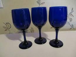 3 vintage 7 libbey cobalt blue wine glasses goblets water glasses euc
