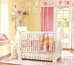 pink nursery furniture. beautiful pink baby girl nursery ideas with white bedding set from prottery barn and yellow wall paint curtain flower rug furniture