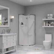 corner shower stalls lowes. OVE Decors Breeze Chrome Wall Acrylic Floor Round 4-Piece Corner Shower Kit (Actual Stalls Lowes H