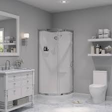 ove decors breeze chrome wall acrylic floor round 4 piece corner shower kit actual
