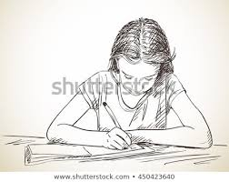 elementary writing in exercise book hand drawn ilration vector sketch