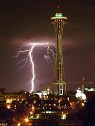 seattle space needle turns 50 lightning strikes west of the space needle on aug