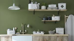 utility room design with green walls and open shelving