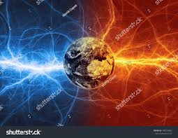 Earth Apocalypse Fire Ice Lightnings Elements Stock Illustration ...