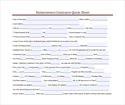 Homeowners Quote Cool 48 Sample Quote Sheets Sample Templates