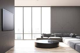 Wooden Living Room Stunning Gray And Wooden Living Room Interior With A Wooden Floor A TV