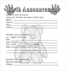 Sample Birth Announcement 7 Documents In Pdf