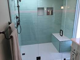 Side by Side Vanities Glass Tile Bathroom Remodel Los Feliz