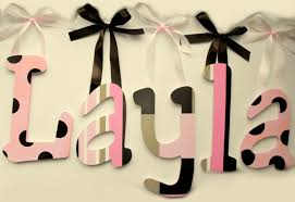 layla hand painted decorative hanging wood wall letters